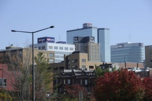 The Knoxville skyline show signage for USBank, First Bank, First Tennessee Bank and BB&T Bank