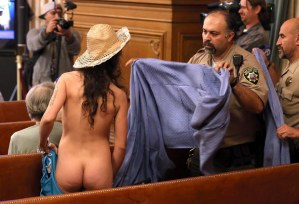 Nude protesters run riot in US courtroom over new laws