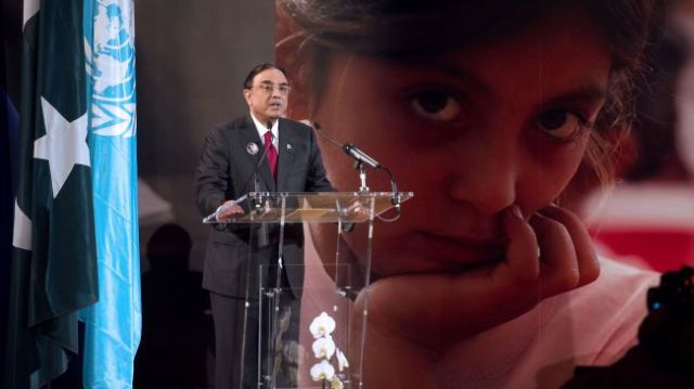 "Pakistani President Asif Ali Zardari delivers a speech during the ""Stand Up For Malala"" advocacy event in Paris on December 10, 2012."