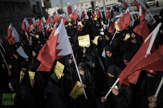 Bahraini women take part in an anti-government rally to demand political reforms on February 12, 2013.(AFP Photo / Mohammed Al-Shaikh)