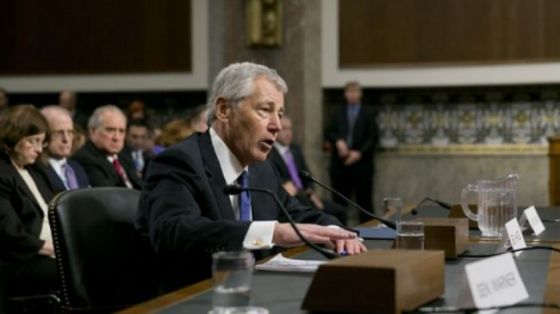 Chuck Hagel at Thursday's Senate Armed Services Committee hearing in Washington, D.C.