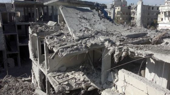 File photo shows destruction in the Syrian capital, Damascus.