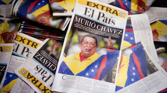A view of newspaper front pages announcing the death of Venezuelan President Hugo Chavez, March 5, 2013.