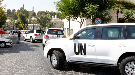 United Nations (U.N.) vehicles transport a team of U.N. chemical weapons experts to the scene of a poison gas attack outside the Syrian capital last week, in Damascus August 26, 2013. (Reuters / Khaled Al Hariri)