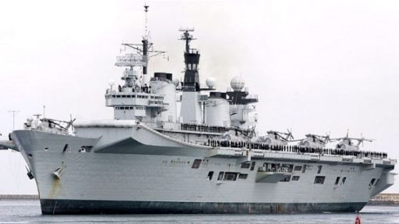 The British Royal Navy's helicopter carrier HMS Illustrious is deployed to the Mediterranean, on August 25, 2013.